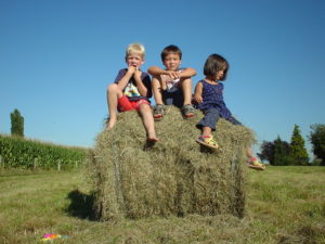 children sitting on a hey bale in southern burgundy rural life at the farm
